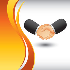 Business handshake on vertical orange wave backdrop