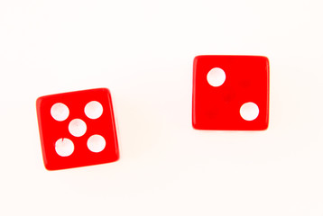 2 Dice close up - showing the numbers 2 and 5 isolated