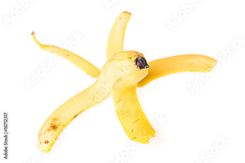 Peel of banana on white background.
