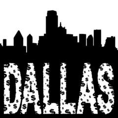 Dallas skyline with grunge text