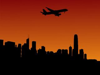 plane arriving in Hong Kong