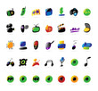 Colorful icons for electronic devices and music