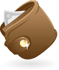 Icon of brown purse. Vector illustration.