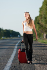 young woman on the road