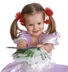 Money euro and child girl in dress.Isolated.