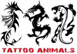 vector illustration tattoo dragon, lion, seahorse