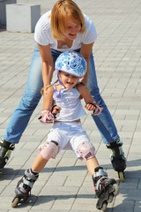 family rollerblading