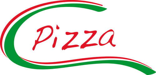 Pizza logo with italy colors green white red