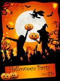 Fototapety Halloween disco-party card