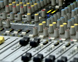 Audio Mix Console. The indicator of level of a signal. Faders.