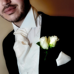 Groom with buttonhole, cravat and waistcoat