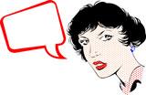 Girl In Speaking. Popart Cartoon poster