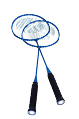 badminton rackets on white