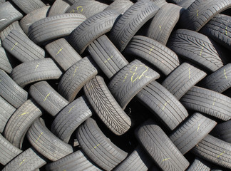Old tyres stacked in a heap