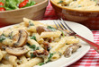 Rigatoni Pasta with Cheese Sauce Mushrooms & spinach