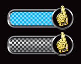 Fan hand on blue and black checkered banners poster