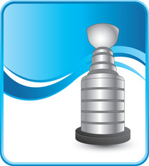 Hockey trophy on blue wave background