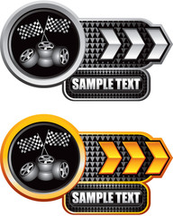 Checkered flags and tires on silver and gold arrow banners