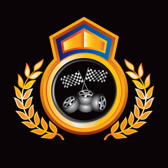 Racing checkered flag and tires in gold royal crest