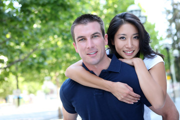 Attractive Interracial Couple in Love