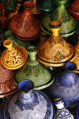 Selection of very colorful Moroccan tajines (traditional cassero