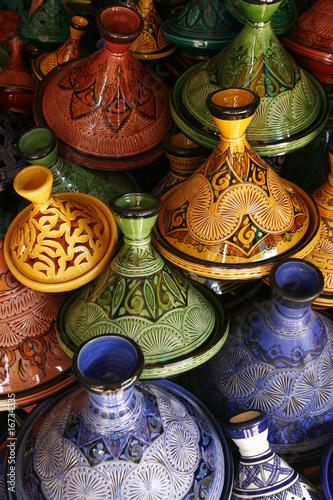 Keuken foto achterwand Boodschappen Selection of very colorful Moroccan tajines (traditional cassero