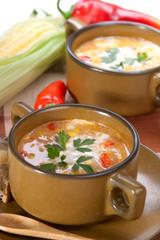 Corn and red chilli chowder