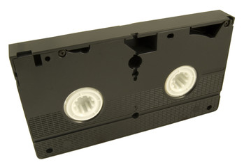 side view of old video cassette isolated on white background