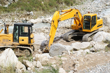 excavator and bulldozer
