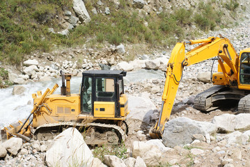bulldozer and excavator