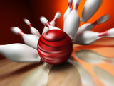 A fun 3d render of a bowling ball crashing into the pins. Extrem - 16742315