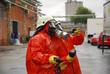 Leinwanddruck Bild - Gefahrstoffeinsatz