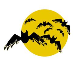 Original bats flying against the full moon