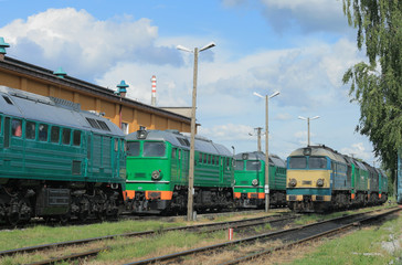 Diesel locomotives standing on the depot tracks
