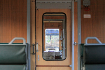 View from the passenger compartment towards front of the train