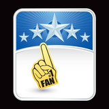 number one fan hand on blue star background poster
