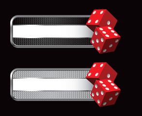 red dice on silver web banner