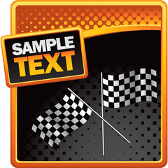 Crossed checkered flags on halftone banner