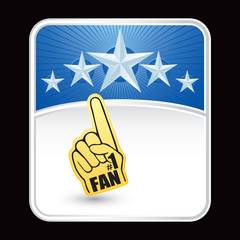 number one fan hand on blue star background