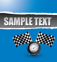Racing checkered flags and speedometer on blue ripped banner