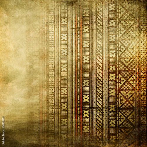 Aluminium Retro vintage golden background with african ornament