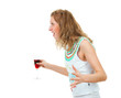 Drunk woman quarrel with someone