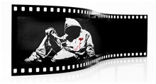 Banksy Hoodie nożem Graffiti Film Strip