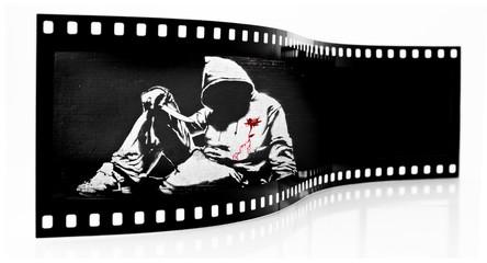 Banksy Hoodie with Knife Graffiti film strip