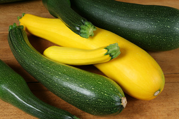 Green and yellow zucchini