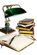 books and lamp