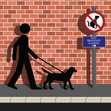 Man walking his dog to obedience class poster