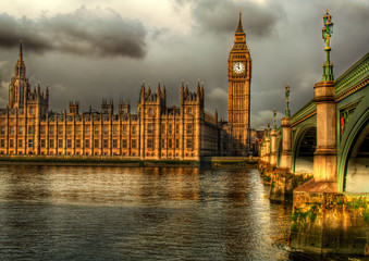 Westminster Palace on a golden morning