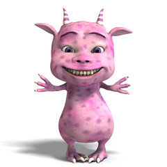 little pink cute toon dragon devil