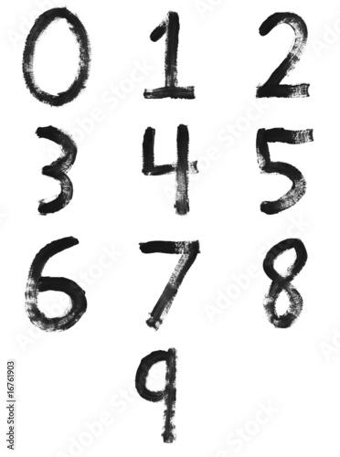 Set of painted letters, numbers & symbols